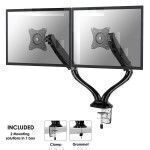 """Newstar Full Motion Dual Desk Mount (clamp & grommet) for two 10-27"""" Monitor Screens, Height Adjustable (gas spring) - Black"""