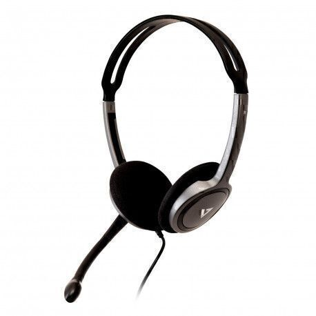 V7 HA212-2EP headset Binaural Head-band Black,Silver