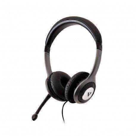 V7 HU521-2EP headset Binaural Head-band Black,Silver