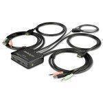StarTech.com Switch KVM de 2 Puertos HDMI con Cables Incorporados - USB 4K 60Hz